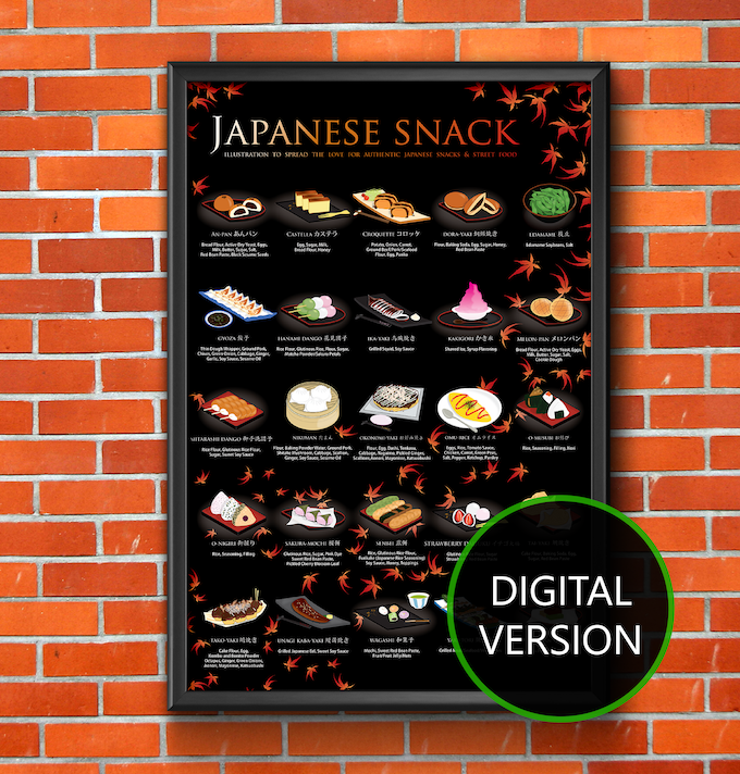 Japanese Snack Poster, 16x20, Maple Background (Digital Version only) - Add $20