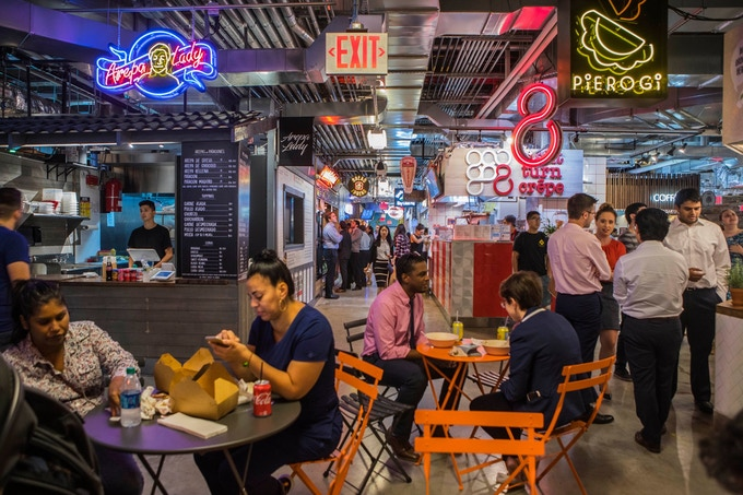 DeKalb Market Hall opened recently in the basement of City Point, a retail, entertainment and restaurant project on the former site of the Albee Square Mall in Brooklyn. The food hall features 40 vendors. Credit Hiroko Masuike/The New York Times