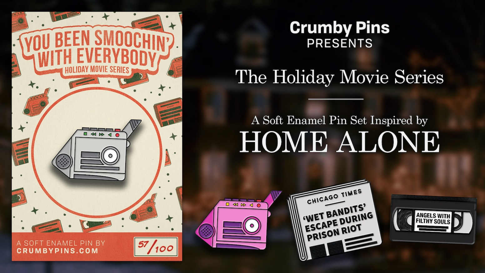 Soft enamel pins based on and inspired by classic Christmas movies. First up: Home Alone. Credit card? You got it!