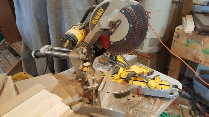 Our beloved Chop-Miter saw. This has saved us so much time and stress in chop cuts and mitering... I can't even say. THANK YOU!