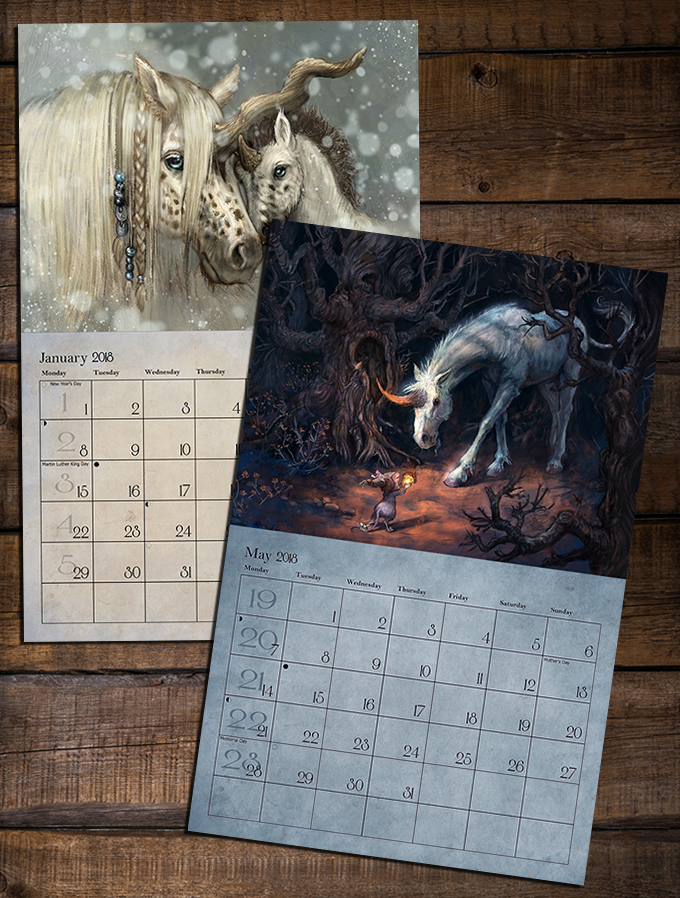 Sample of the calendar's interior spreads