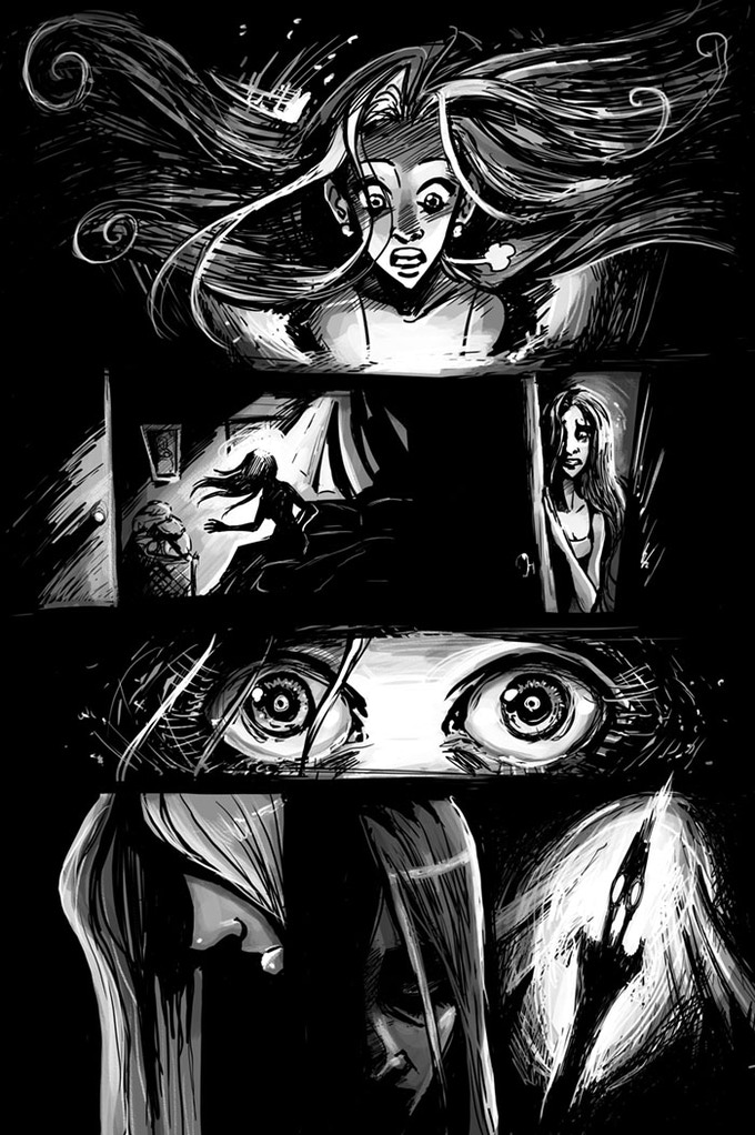 A page from ALONE AT NIGHT - by Chandra Free & Ryan Fassett