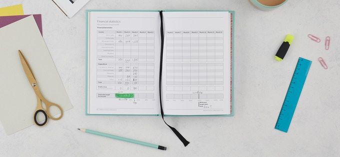 ... and make your financial goal visual and keep track every month (at the end of the planner)