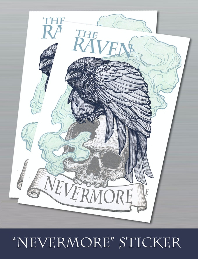 "3""x 2"" Vinyl Sticker NEVERMORE"