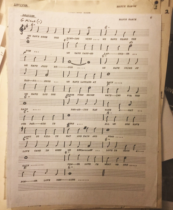 """* sheet music from Bruce's personal papers: """"Paradise has gone away / Our parade is here / All we now have left to kill/ Is hate and pain and fear"""""""