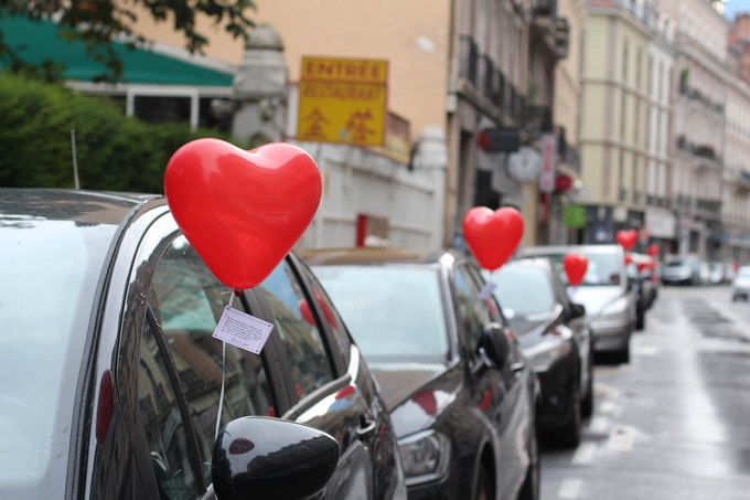We spread love everywhere when we are out of the office! (We woke up at 5 AM to fill the streets with heart-shaped balloons)