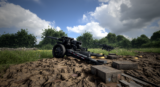 Player-operated Model 18 Heavy Field Howitzers