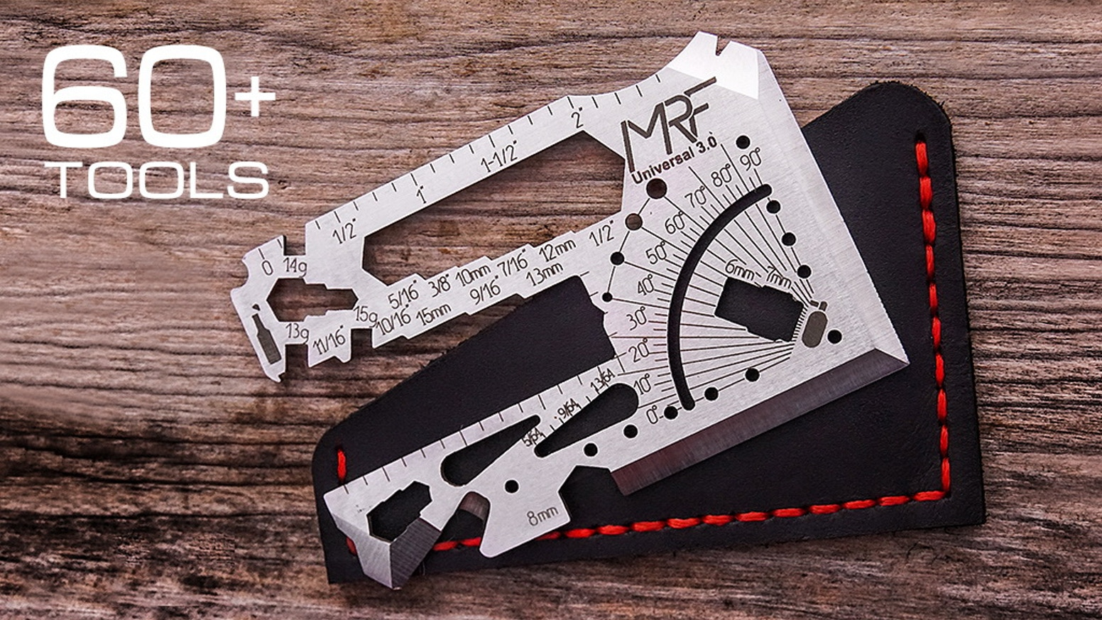 EDC Tool Card with 60+tools in One. The most Multi Functional Minimalistic Gear. Knife, Survival Axe, Sundial, Wrenches
