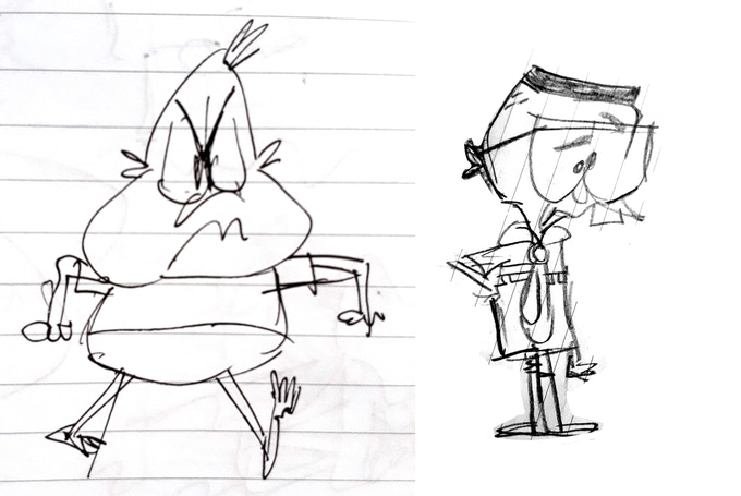 Early character sketches for Derek & Roger