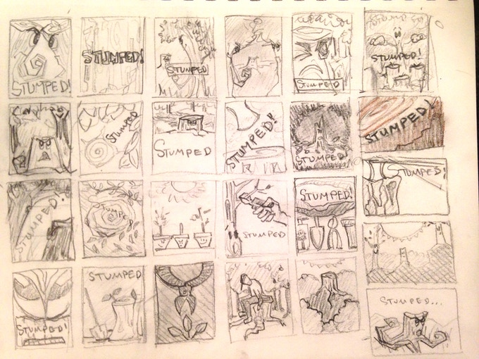 Brainstorm sketches for the box cover.