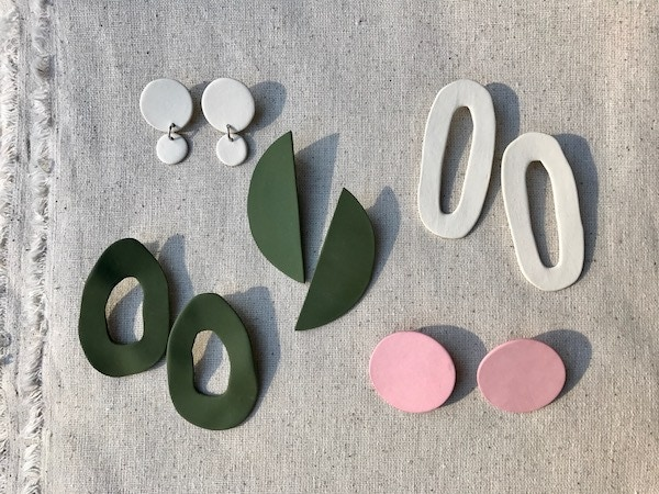 Geometric Earrings by Jenny Rush of Four Eyes Ceramics