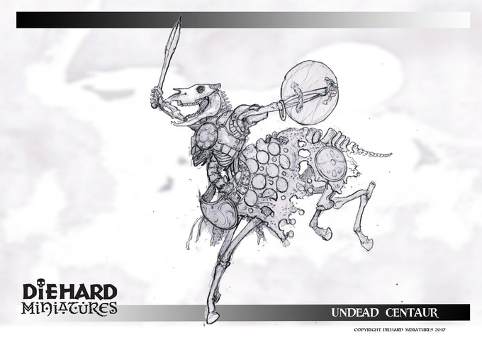 Skeletal Centaur, concept art Jody Siegel. This original art will be part of one of the Pledges!