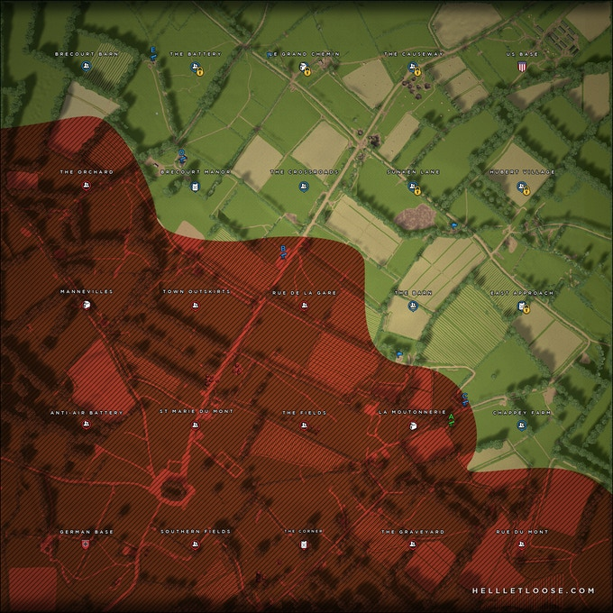 The in-game tactical map for St Marie Du Mont showing sectors, resources and occupation (grid overlay is disabled for this image). Click on the image to see the real location.