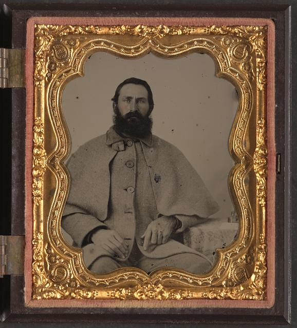 Confederate soldier in greatcoat - Library of Congress