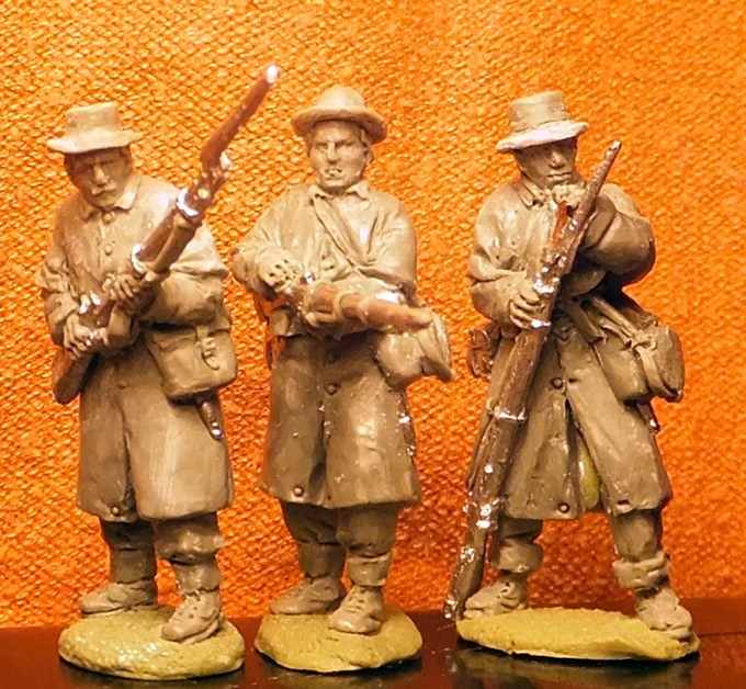 Confederate infantry in greatcoats