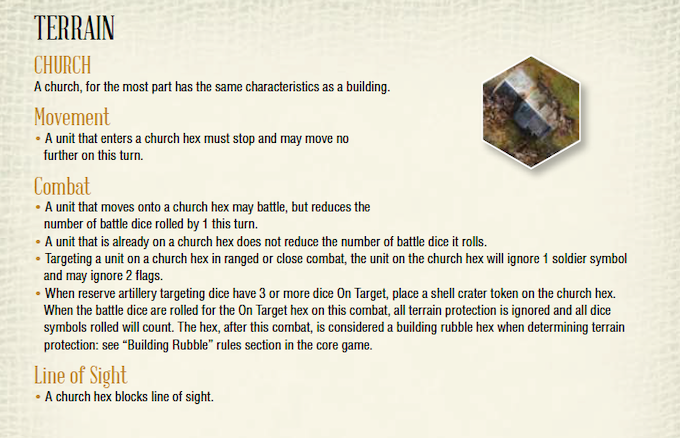One of the new terrain types - a church.