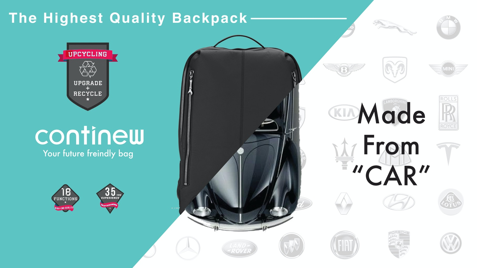 CONTINEW Backpack The High Quality Bag Made From Cars