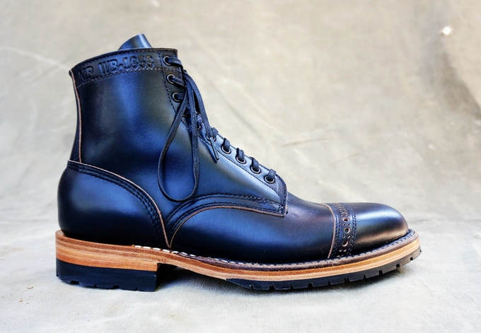 M&R Officer Boot - Horween Black CXL with Half Mini Lug Sole