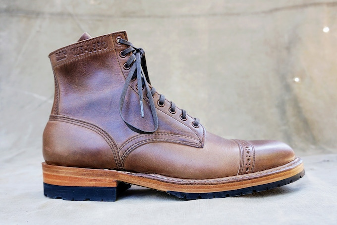 M&R Officer Boot - Horween Natural CXL with Half Mini Lug Sole