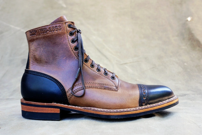 M&R Officer Boot - Horween Natural & Black CXL with Dainite Sole