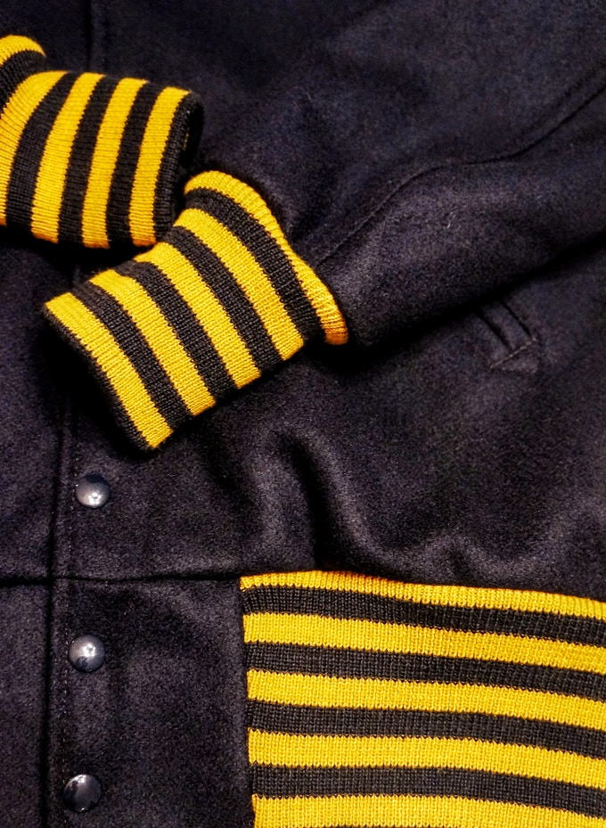 Football Jacket - Navy with Navy and Old Gold Cuffs and Tail