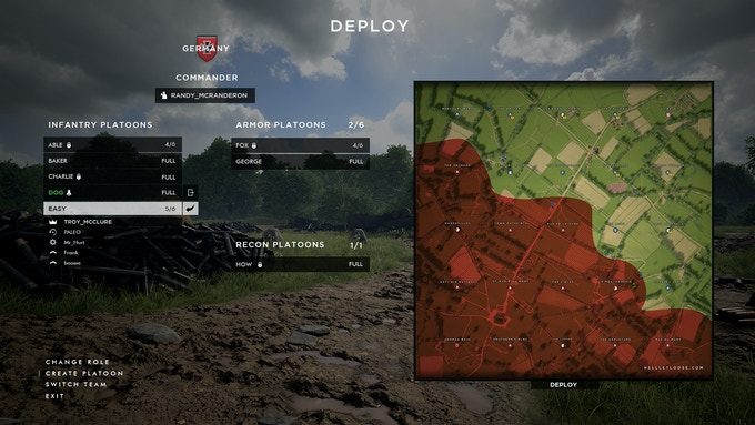 Our WIP deploy menu.