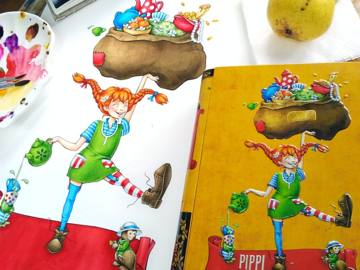 The original Pippi Oolongstocking (signed by Julia) artwork is also available!