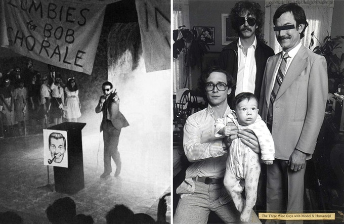 L: An early years Devival | R: The Three Wise Guys – Ivan Stang, Dr.X and Philo Drummond – pose with a Model X Humanoid (1979)