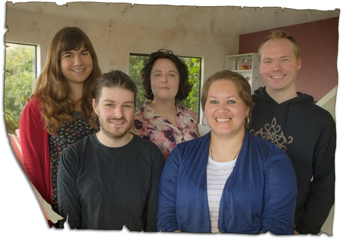Left to right: Christine (Illustrator), Adam (Writer), Bo (Illustrator), Jaimee (Writer) & Chaz (Writer)