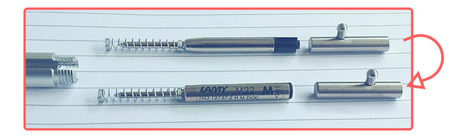 Easy way to remember : Long half towards Lamy, mini-half to mini-Parker.