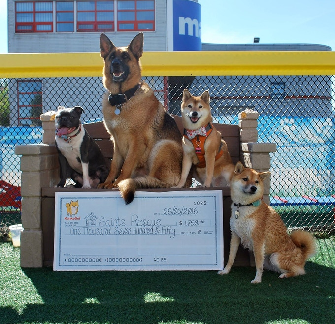 Blue, Myah, Sei-Sei, and Maya donating the SAINTS cheque