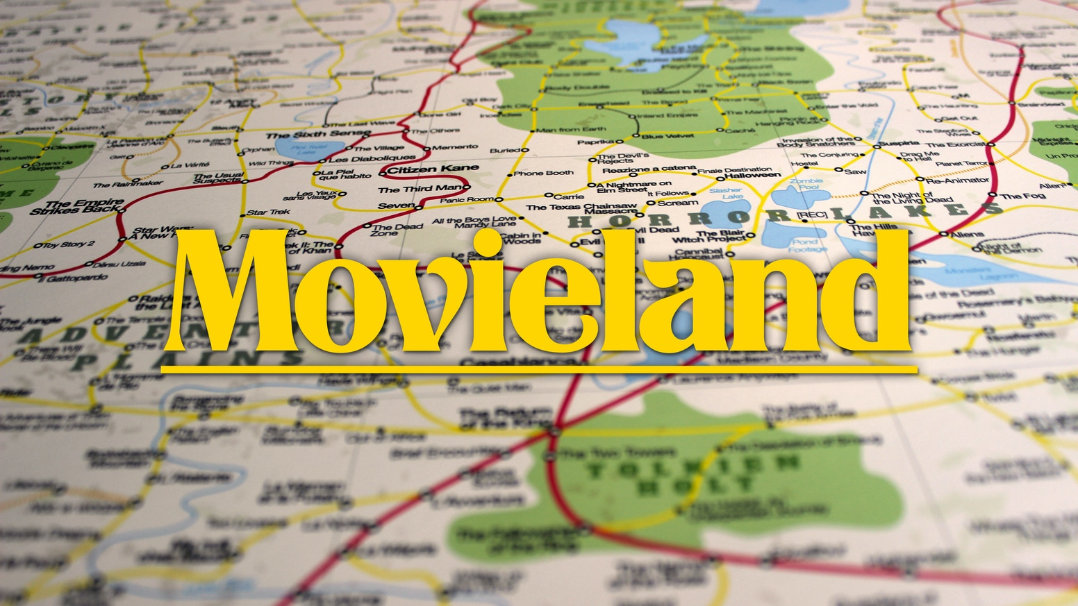 The great map of movieland poster by david honnorat kickstarter 1800 must see movies on a beautiful and detailed road map to help you gumiabroncs Image collections
