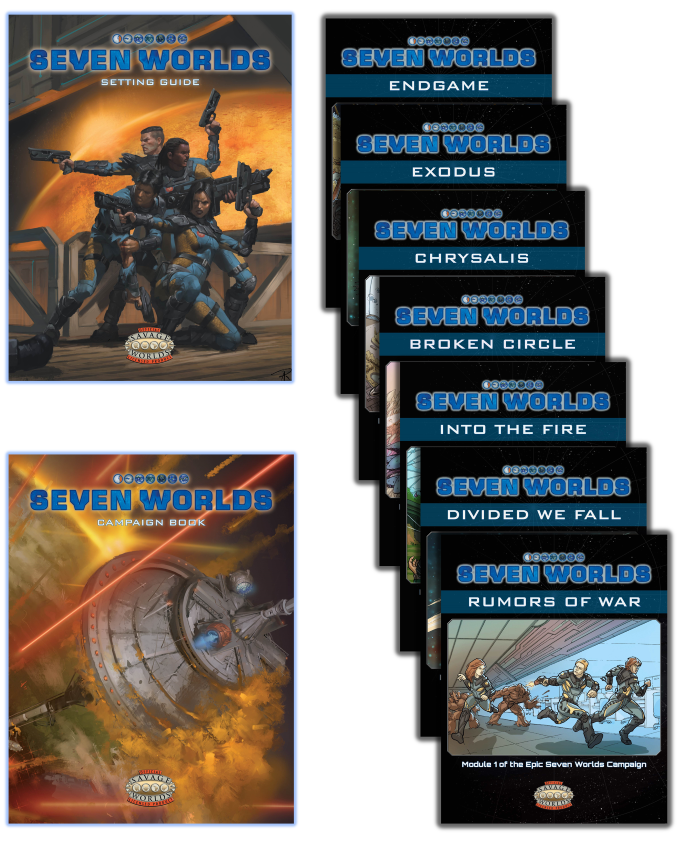 The Seven Worlds product line-up: Setting Guide, seven campaign modules available separately and as a one-volume Campaign Book.