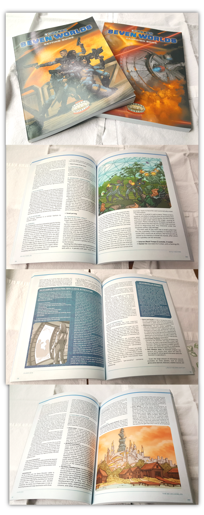 The Print-on-demand books are real, and they look awesome! Here you can see some samples, taken on my kitchen table.