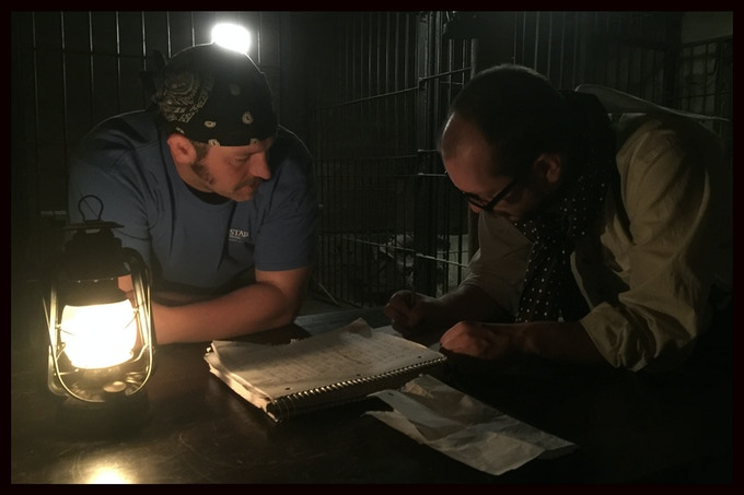 Aaron Shaps and I making last-minute changes on set