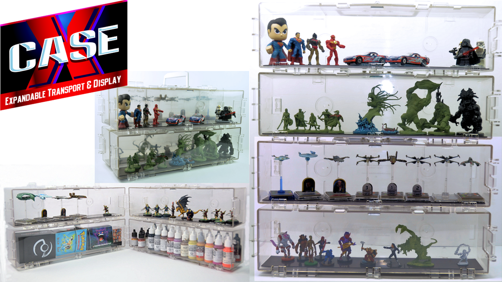 X Case Clear Expandable Miniatures Display And Transport