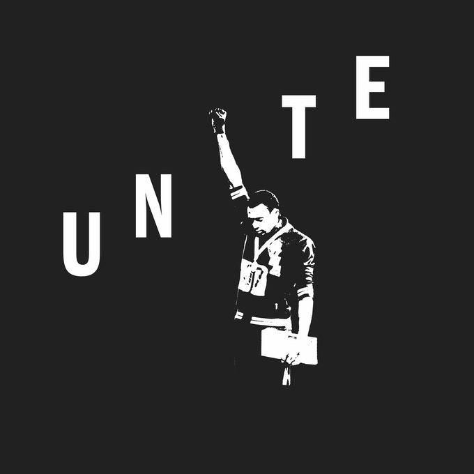 Detail of Official Tommie Smith Unite Shirt