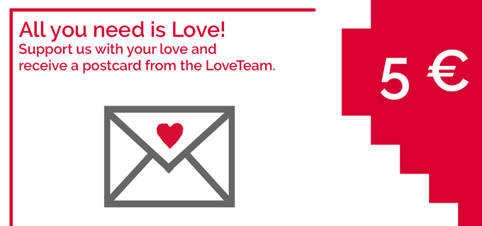 If you do not want to buy a Lovebox but you like the project, support us with 5 € and we will send you a postcard full of love! Click on the image to support us.