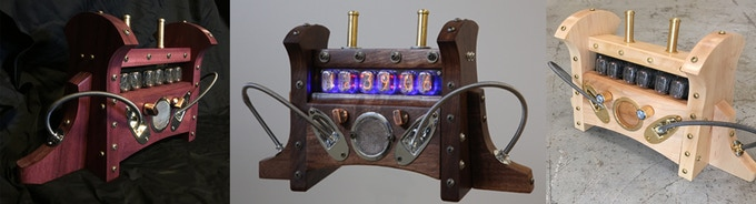Nixie Clock MKIs in Purpleheart (Purple), Black Walnut (Brown), and Maple (White).