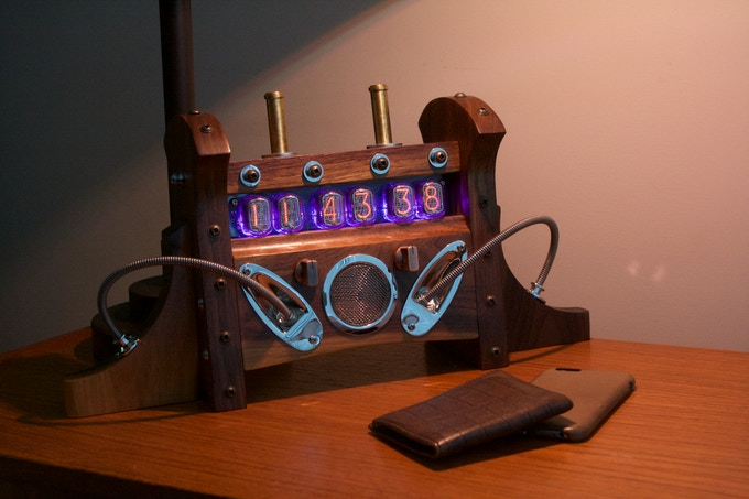 The most popular model and hardwood choice: Nixie Clock MKI in Black Walnut