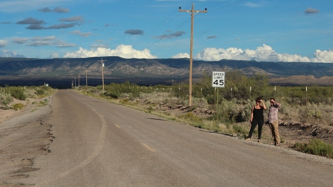 Taylor and Eric location scouting at the gates of White Sands Missile Range