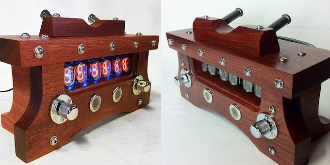 Limited Edition Nixie Clock MKII in Bloodwood & Chrome