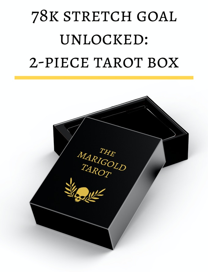 Mockup only - two-piece box for the Marigold Tarot now unlocked, a much sturdier option than the standard tuckbox!