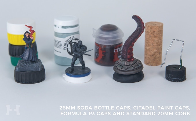 Accepts standard 28mm soda caps; Games Workshop - Citadel ™ Paint Caps; Privateer Press - Formula P3 paint caps; and 20mm cork inserts.