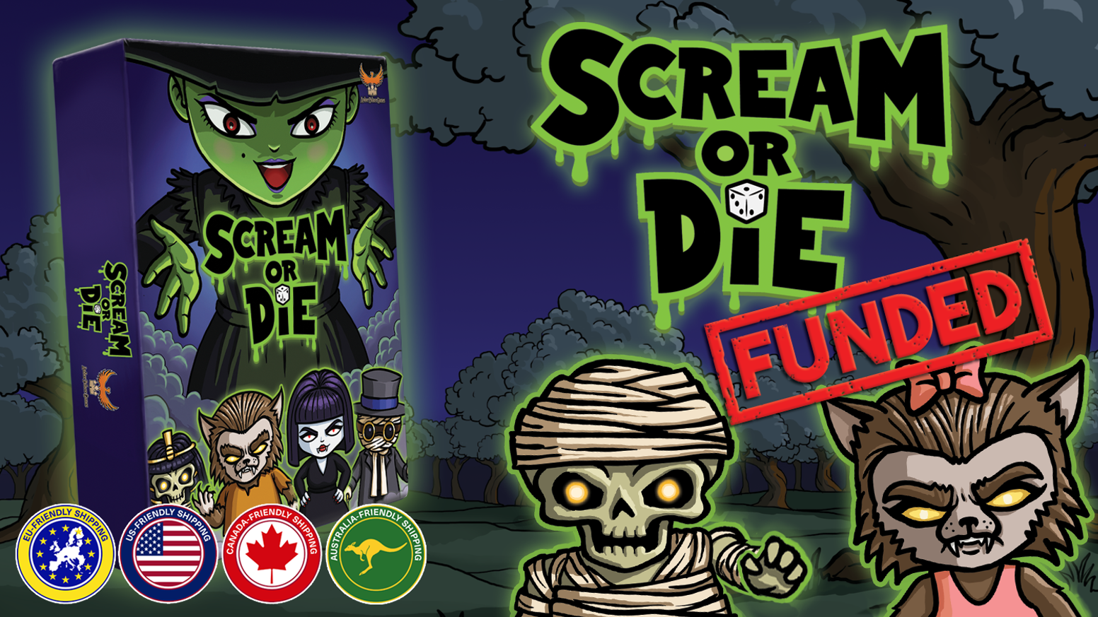Compete to Collect 13 Candy on Halloween Night in this fast-paced, family friendly dice game for 2-8 monsters. People can play too.