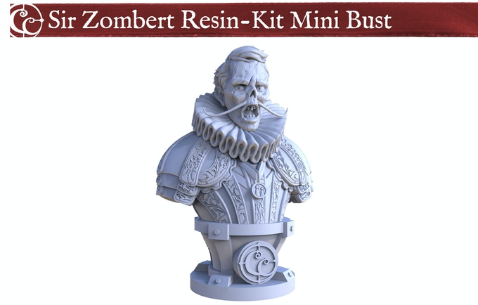 This unpainted Resin-Kit Mini Bust of Sir Zombert Braincleaver by Fantasy Flight Games Sculptor Cory DeVore would make a great spooky addition to any reward.