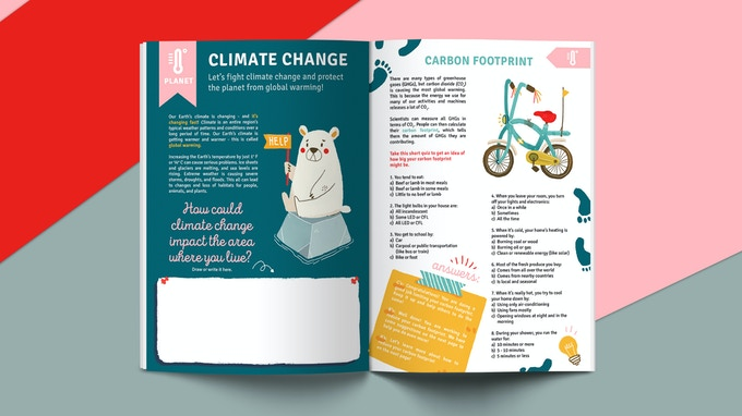 "Understanding effects of climate change // Quiz to ""measure"" your carbon footprint (Click to zoom in)"