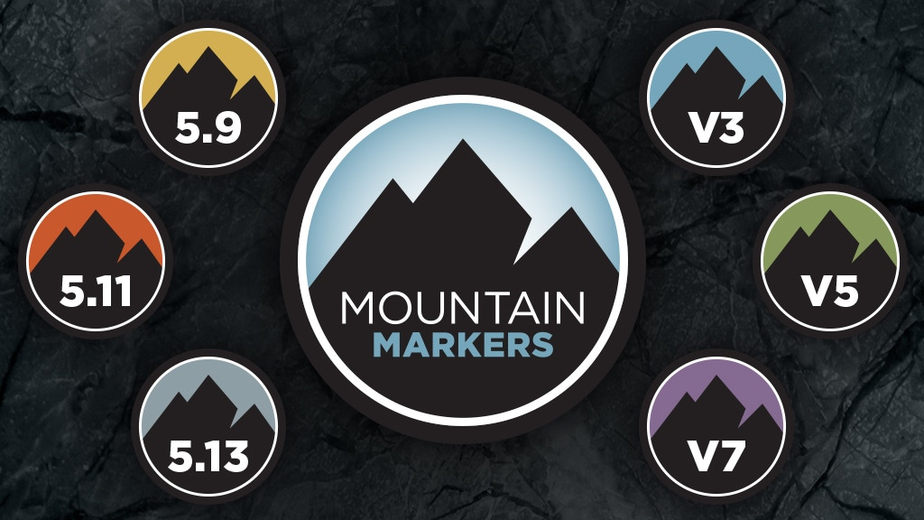Project image for Mountain Markers Rock Climbing Stickers & Buttons