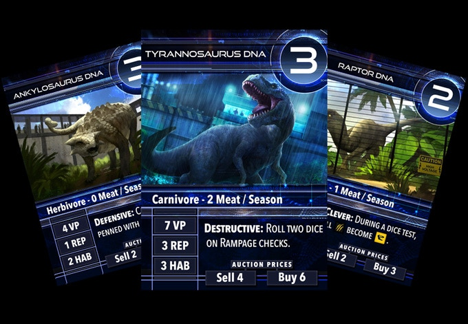 DNA cards are just one of the resources that can be collected by workers. Turn in a complete set of DNA at the DinoGenics research facility to produce a matching dinosaur.