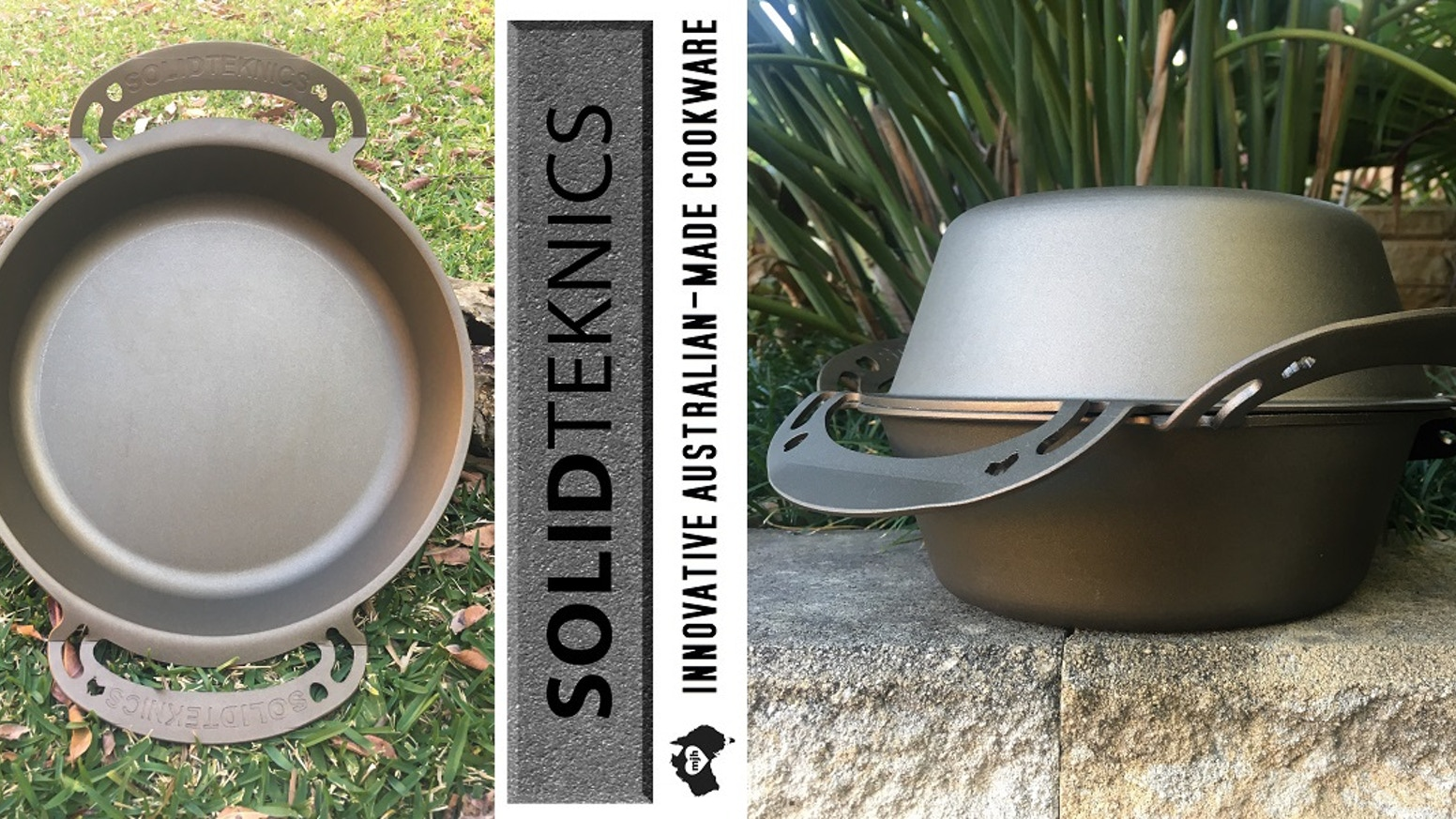 """Bigga 35cm (14"""") wrought iron skillet fits big BBQs for the BIG cookups! Deep 21cm (8"""") pot/lid pair cooks anything with Tough Love! <3"""